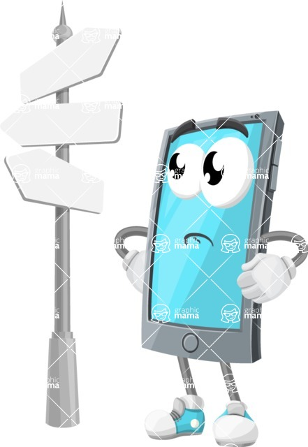 Smart Phone Cartoon Vector Character - Choosing Way with Street Sign pointing in all directions