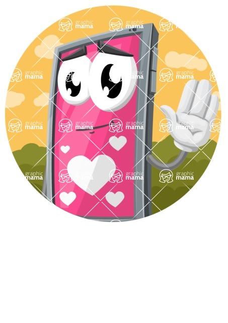 Smart Phone Cartoon Vector Character - Circle Sticker Template