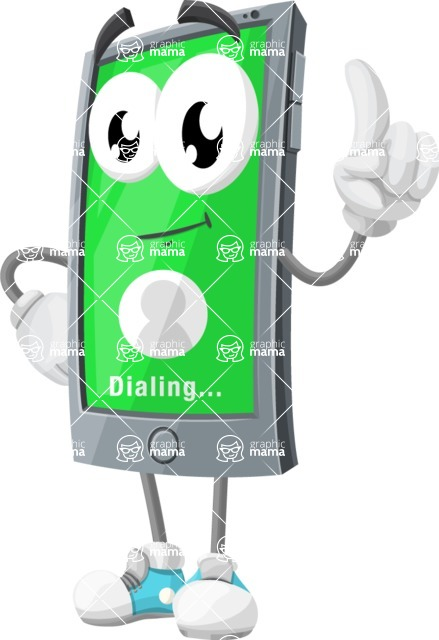Smart Phone Cartoon Vector Character - Dialing a Contact