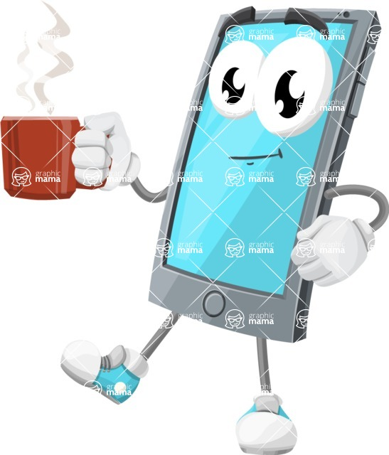 Smart Phone Cartoon Vector Character - Drinking Coffee