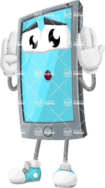 Smart Phone Cartoon Vector Character - Feeling Confused