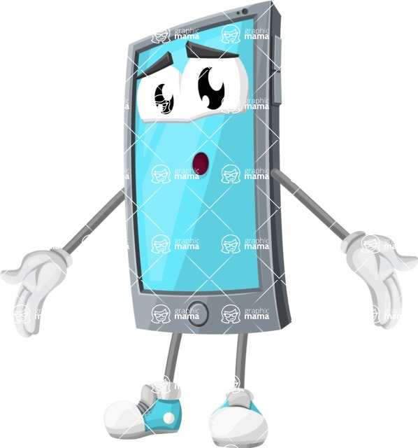 Smart Phone Cartoon Vector Character - Feeling Lost with Sad Face