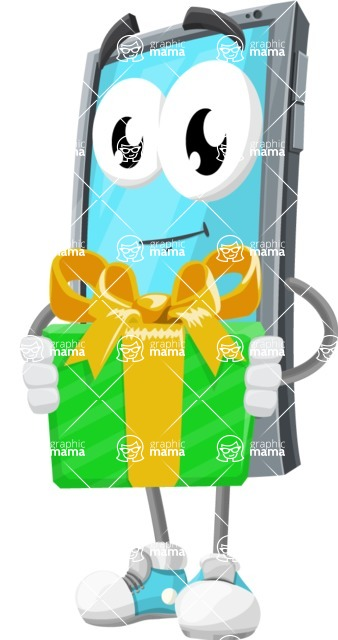 Smart Phone Cartoon Vector Character - Holding a Gift