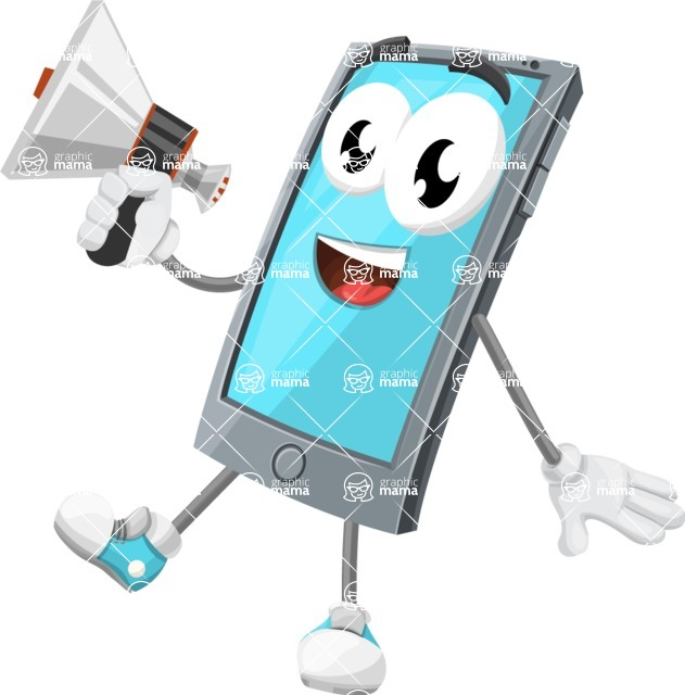 Smart Phone Cartoon Vector Character - Holding a Loudspeaker