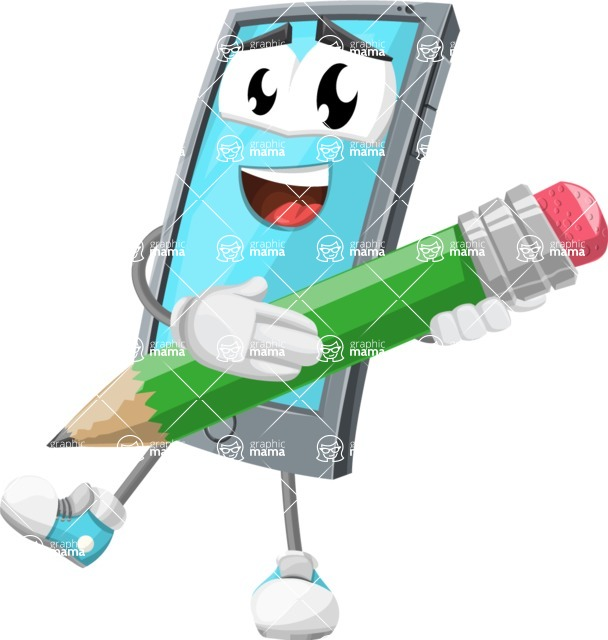 Smart Phone Cartoon Vector Character - Holding a Pencil