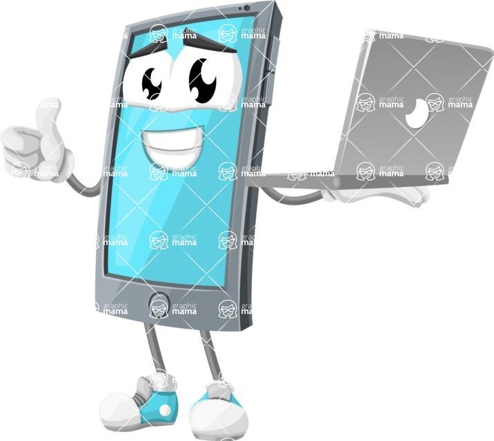 Smart Phone Cartoon Vector Character - Holding Computer