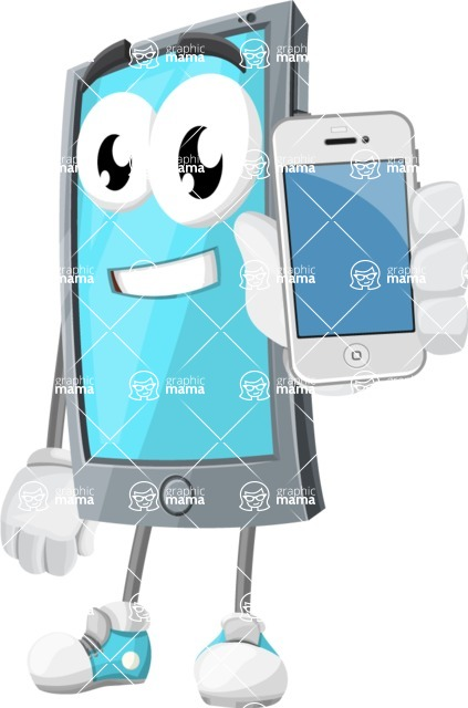 Smart Phone Cartoon Vector Character - Holding Mobile Phone