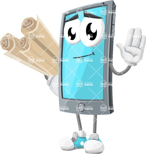 Smart Phone Cartoon Vector Character - Holding Papers