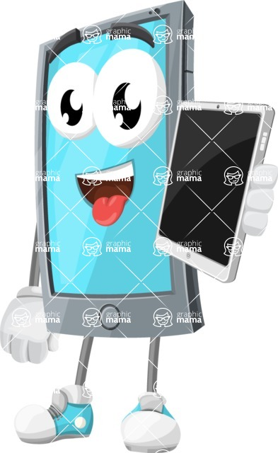 Smart Phone Cartoon Vector Character - Holding Tablet
