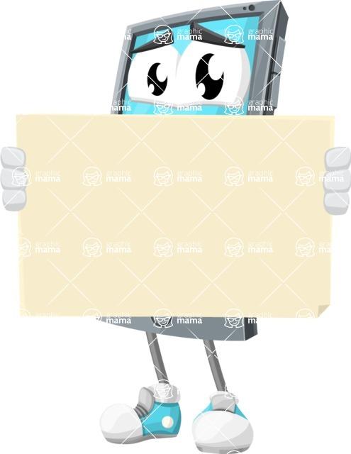 Smart Phone Cartoon Vector Character - Looking At Blank Sign