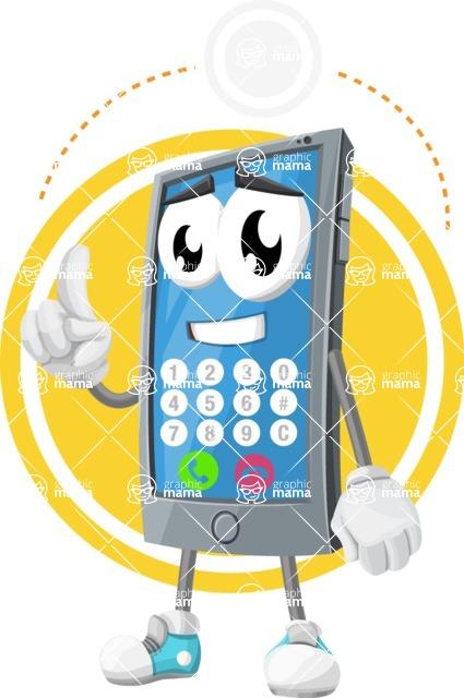 Smart Phone Cartoon Vector Character - Making a Call Illustration Concept