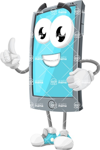 Smart Phone Cartoon Vector Character - Making a Point