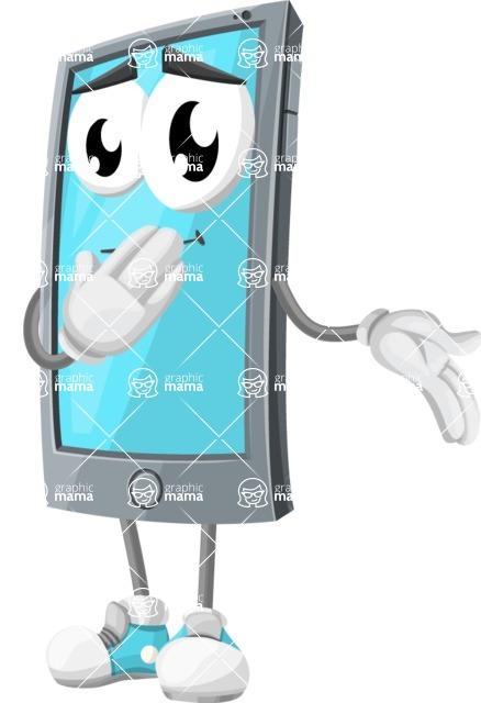 Smart Phone Cartoon Vector Character - Making Oops gesture