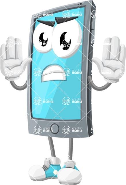 Smart Phone Cartoon Vector Character - Making stop gesture
