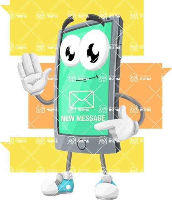 Smart Phone Cartoon Vector Character - Massaging to a Friend Communication App Illustration