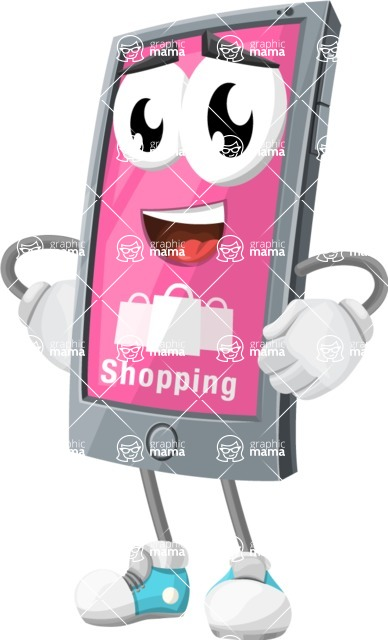 Smart Phone Cartoon Vector Character - Online Shopping