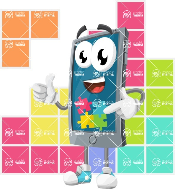 Smart Phone Cartoon Vector Character - Playing Smartphone Games Illustration