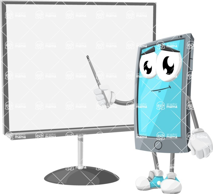 Smart Phone Cartoon Vector Character - Pointing with a Pointer on Blank Presentation Board