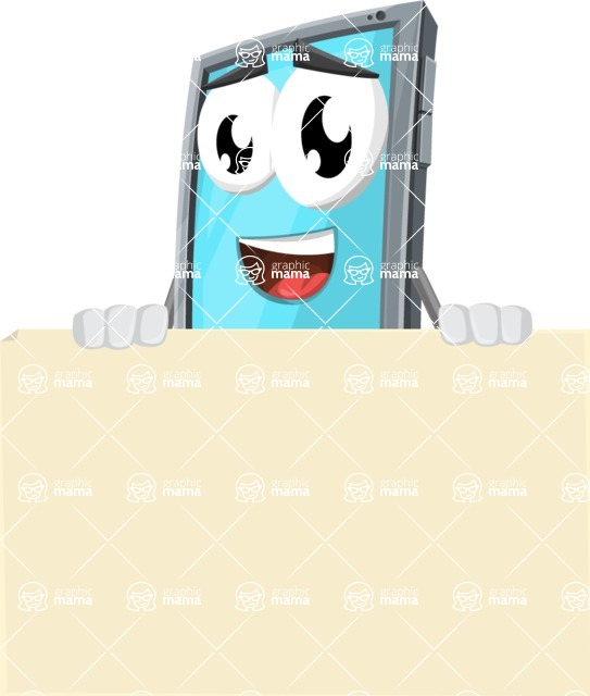 Smart Phone Cartoon Vector Character - Presenting A Blank Sign
