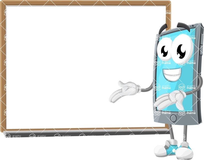 Smart Phone Cartoon Vector Character - Presenting on Blank Blackboard