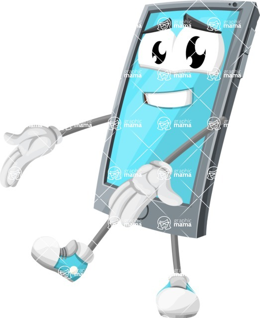 Smart Phone Cartoon Vector Character - Presenting