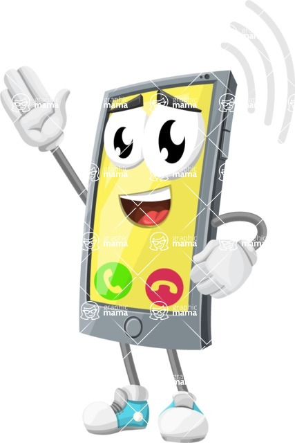 Smart Phone Cartoon Vector Character - Ringing with Incoming Call