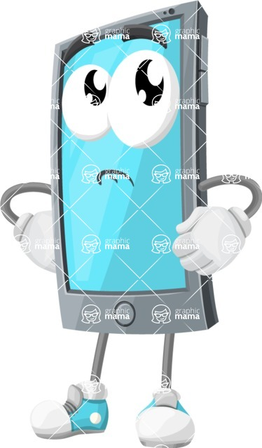 Smart Phone Cartoon Vector Character - Rolling Eyes