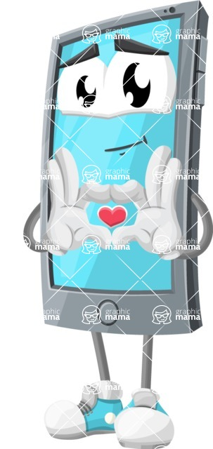 Smart Phone Cartoon Vector Character - Showing Love with Heart