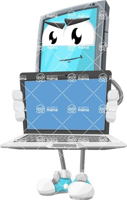 Smart Phone Cartoon Vector Character - Showing Tech Laptop