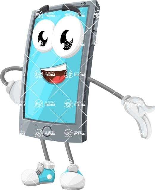Smart Phone Cartoon Vector Character - Showing with a Hand