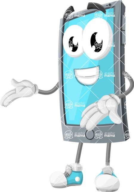 Smart Phone Cartoon Vector Character - Showing with Both Hands