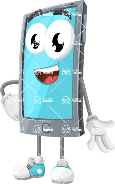 Smart Phone Cartoon Vector Character - Smiling
