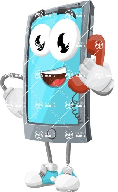 Smart Phone Cartoon Vector Character - Talking on Phone