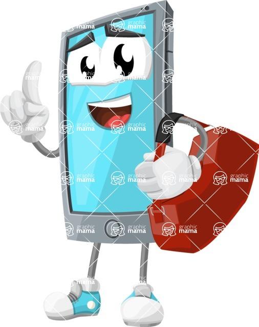 Smart Phone Cartoon Vector Character - Traveling