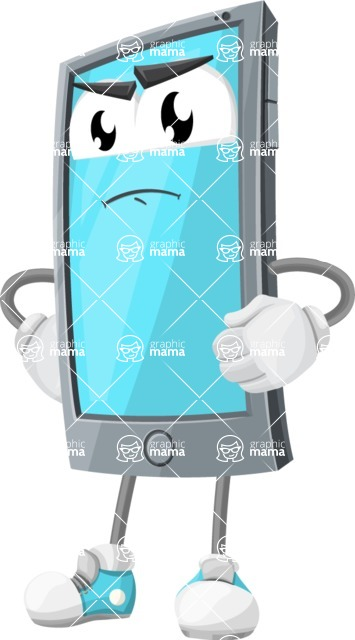 Smart Phone Cartoon Vector Character - Waiting