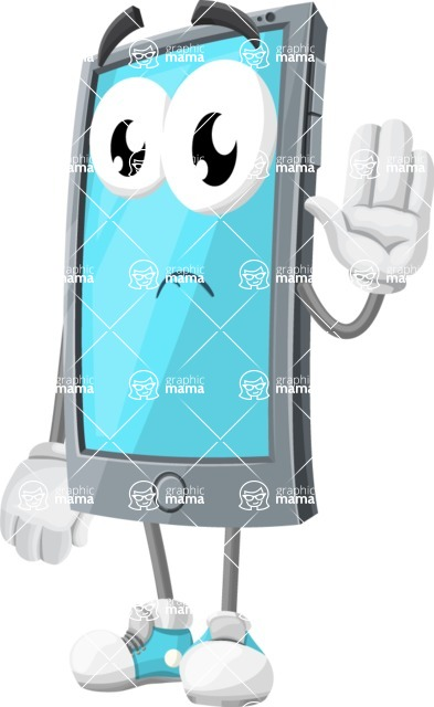 Smart Phone Cartoon Vector Character - Waving for Goodbye with a Hand