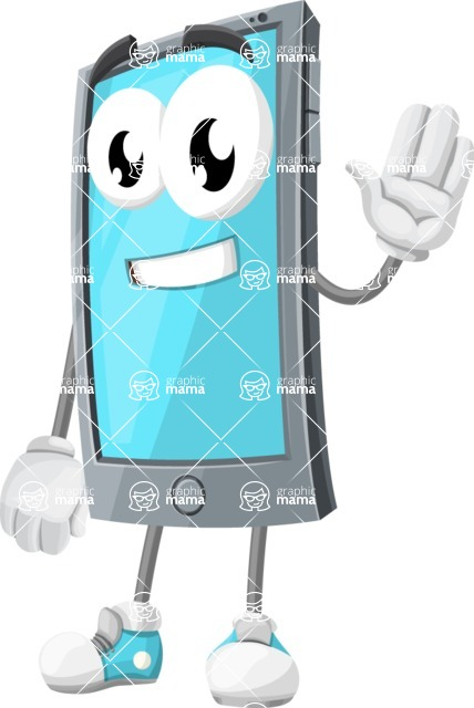 Smart Phone Cartoon Vector Character - Waving for Hello with a Smiling Face