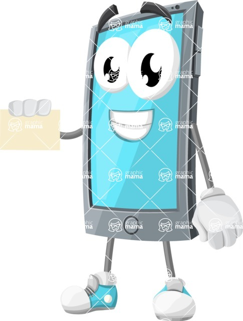 Smart Phone Cartoon Vector Character - With a Blank Business card