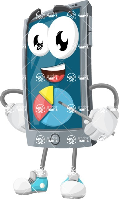 Smart Phone Cartoon Vector Character - With a Business Pie Chart