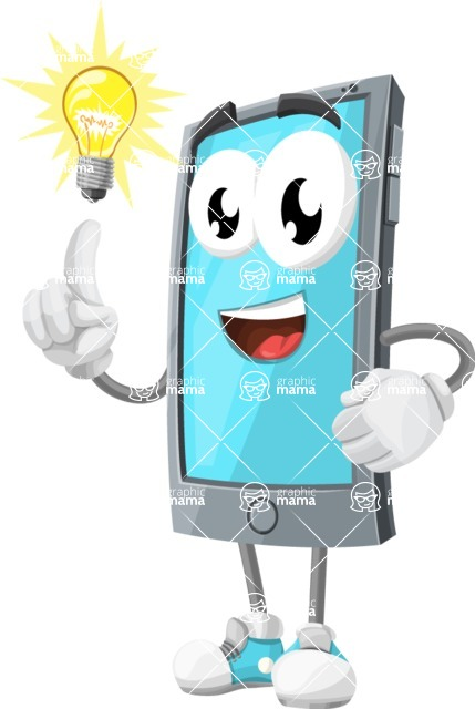 Smart Phone Cartoon Vector Character - with an Idea
