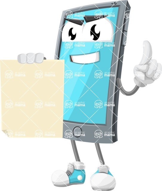 Smart Phone Cartoon Vector Character - With Blank Paper