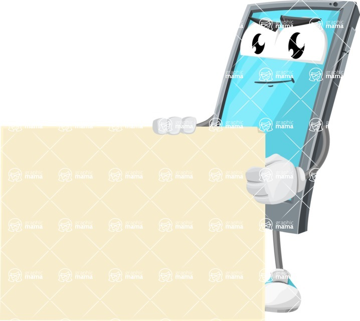 Smart Phone Cartoon Vector Character - With Blank Presentation Sign