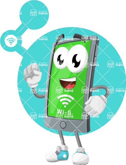 Smart Phone Cartoon Vector Character - With Connected Wi Fi Illustration