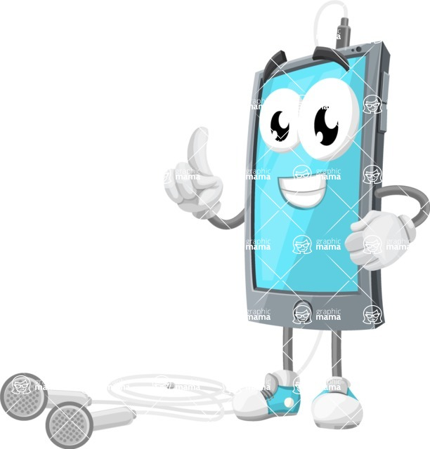 Smart Phone Cartoon Vector Character - With Earphones