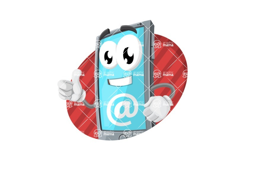 Smart Phone Cartoon Vector Character - With Email Service Simple Style Illustration Concept