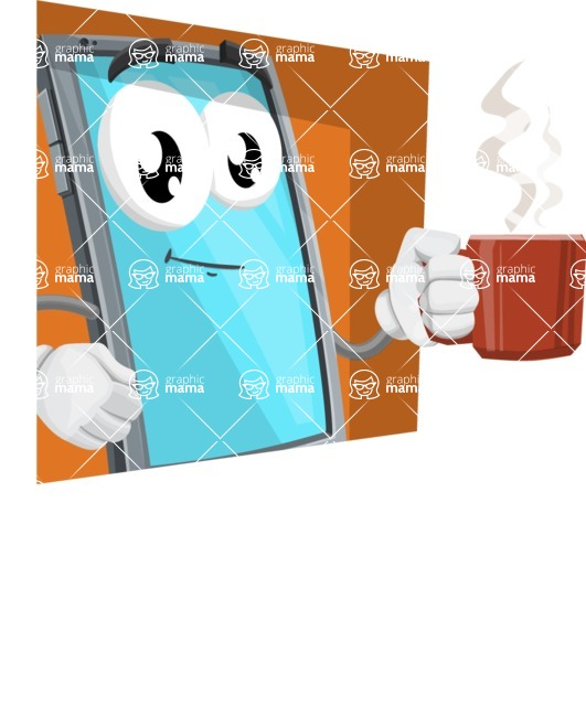 Smart Phone Cartoon Vector Character - With Flat Background Illustration