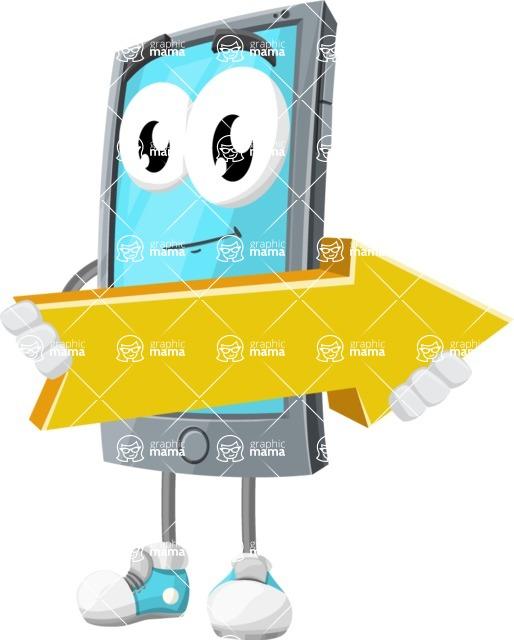 Smart Phone Cartoon Vector Character - with Forward Arrow