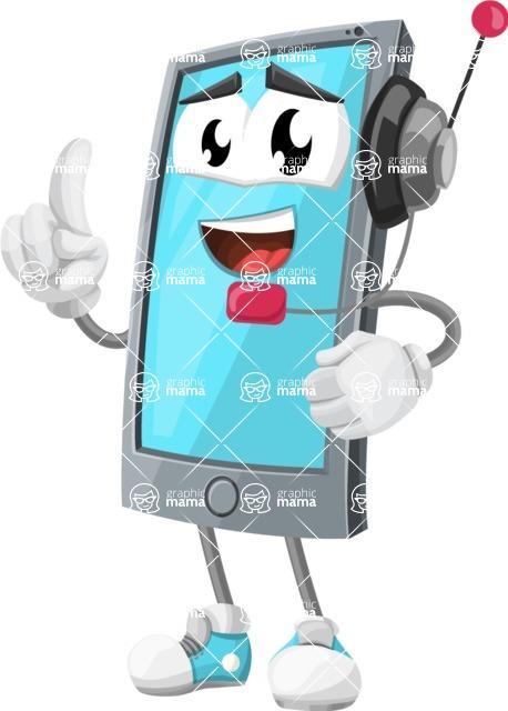 Smart Phone Cartoon Vector Character - With Headphones