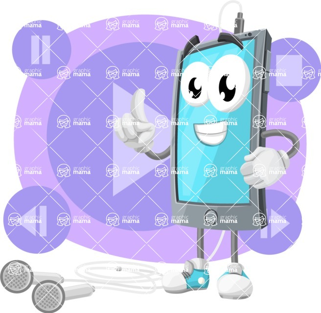 Smart Phone Cartoon Vector Character - With Music Player App Illustration