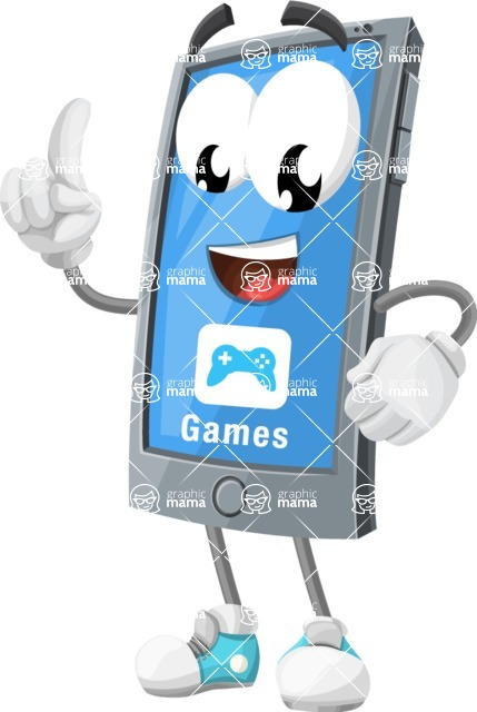 Smart Phone Cartoon Vector Character - With Opened Game App Playing Mobile Games